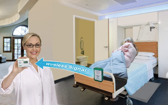 Wireless Monitor to Pager with corded landing mat - Smart Caregiver - Quiet Fall Prevention